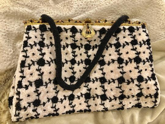 unknown Beaded Tote in black and white