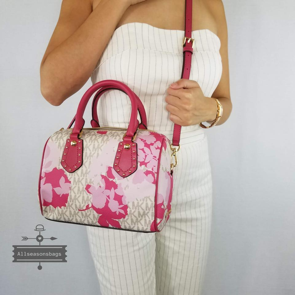 722d085049ef Michael Kors Shoulder Satchel Mk Small Aria Floral Pink Vanilla Cross Body  Bag - Tradesy