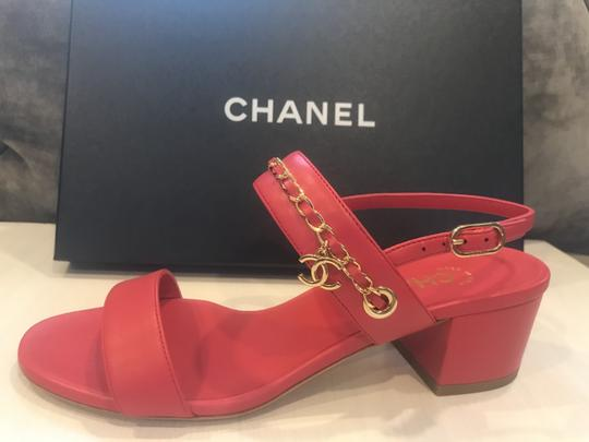 Chanel Chain Clover Cc Charm Heels Red Sandals