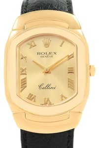 Rolex Rolex Cellini 18k Yellow Gold Black Strap Mens Watch 6633