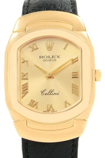 Preload https://item1.tradesy.com/images/rolex-champagne-cellini-18k-yellow-gold-black-strap-mens-6633-watch-23818380-0-1.jpg?width=440&height=440