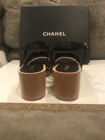 Chanel Wood Calfskin Ankle Strap Black Platforms