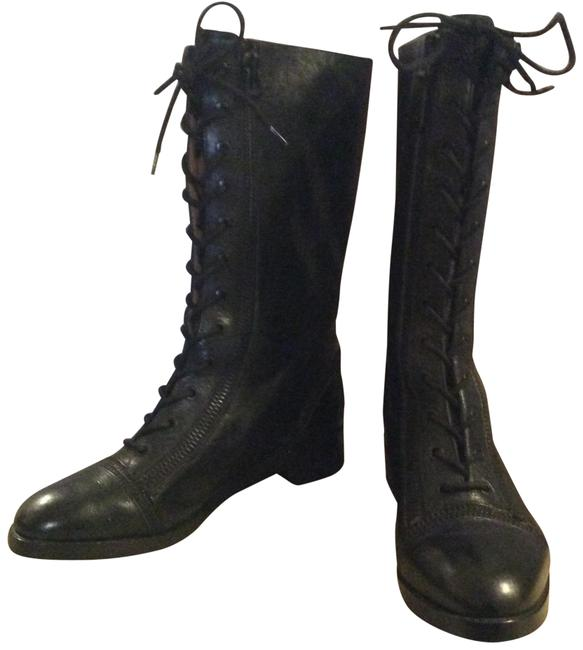 """Via Spiga Black """" Gwendolyn"""" Leather Motorcycle Boots/Booties Size US 8.5 Regular (M, B) Image 1"""