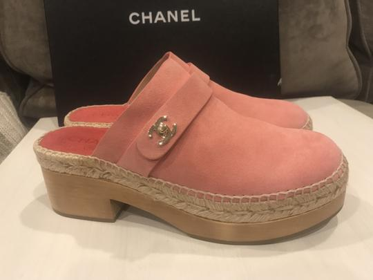 Chanel Wood Clogs Turnlock Pink Platforms