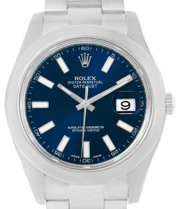 Rolex Rolex Datejust II Blue Baton Dial Stainless Steel Mens Watch 116300