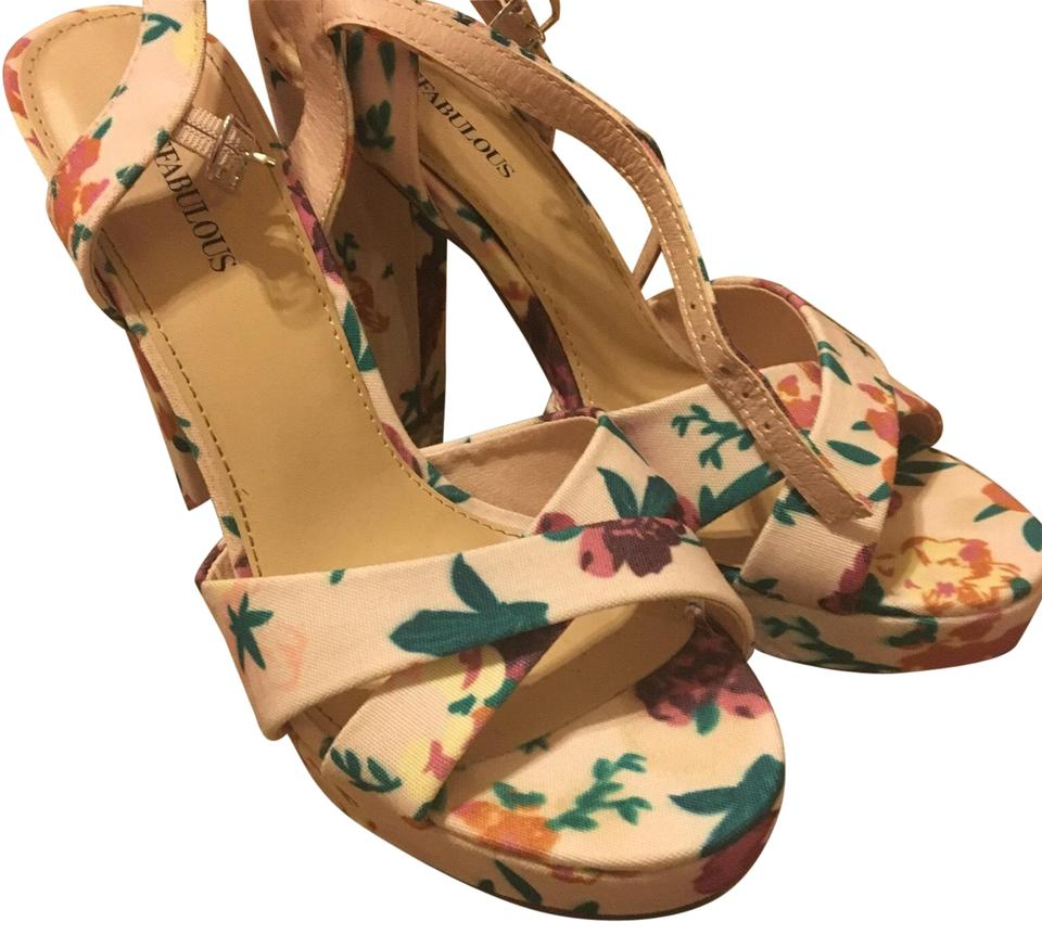JustFab Floral Pink and and Pink Green Pumps e9b1cd