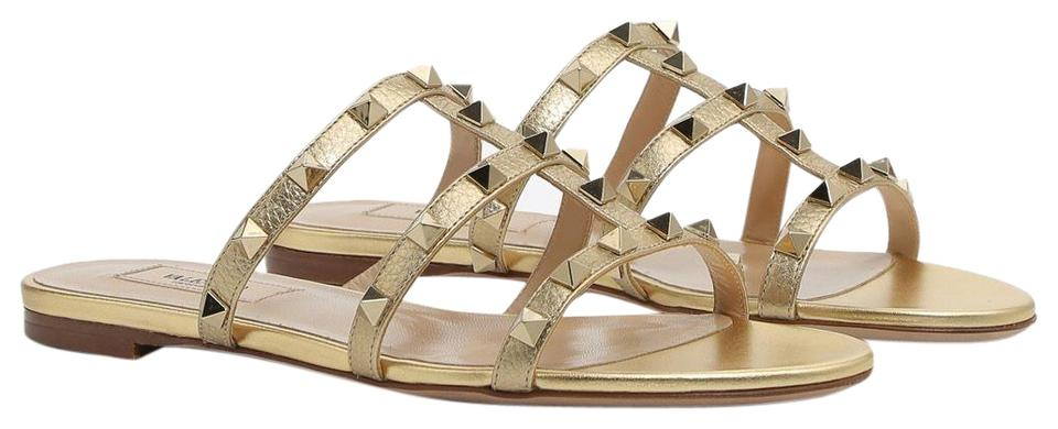 bd78231b346 Valentino Gold Classic Metallic Rockstud Caged Leather Slides Sandals