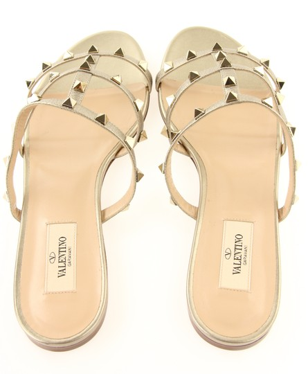 Valentino Rockstud Studded Flat Slide Gold Sandals