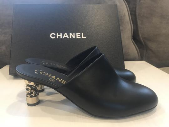 Chanel Chain Cc Heels Slides Black Mules