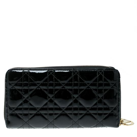 Dior Black Cannage Patent Leather Zippy Wallet