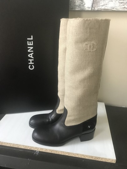 Chanel Fabric Knee High Canvas Riding Beige/Black Boots