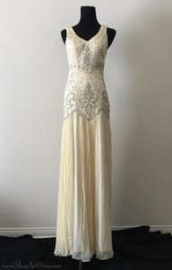 Sue Wong Cream 1920s Style Gown W5203 Vintage Wedding Dress Size 4 (S)