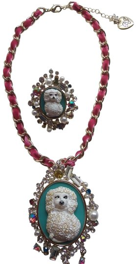 Preload https://item4.tradesy.com/images/betsey-johnson-white-new-poodle-cameo-necklace-and-ring-23818593-0-2.jpg?width=440&height=440