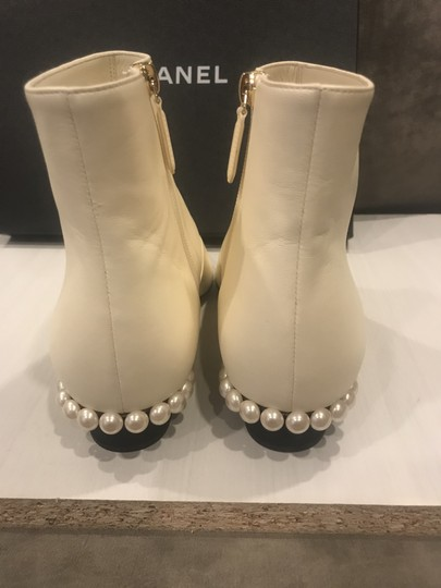 Chanel Pearl Two Tone Leather Ivory/Black Boots