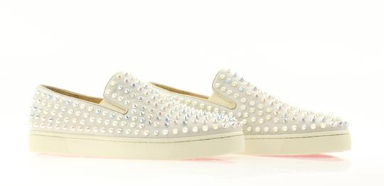 Christian Louboutin Flat Spike Slip On Calfskin Leather Elastic Sides Grey Athletic