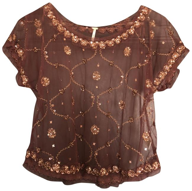 Free People Sequins Date Boho Top Burgandy
