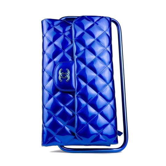 Chanel Classic Patent Leather Electric Blue Clutch