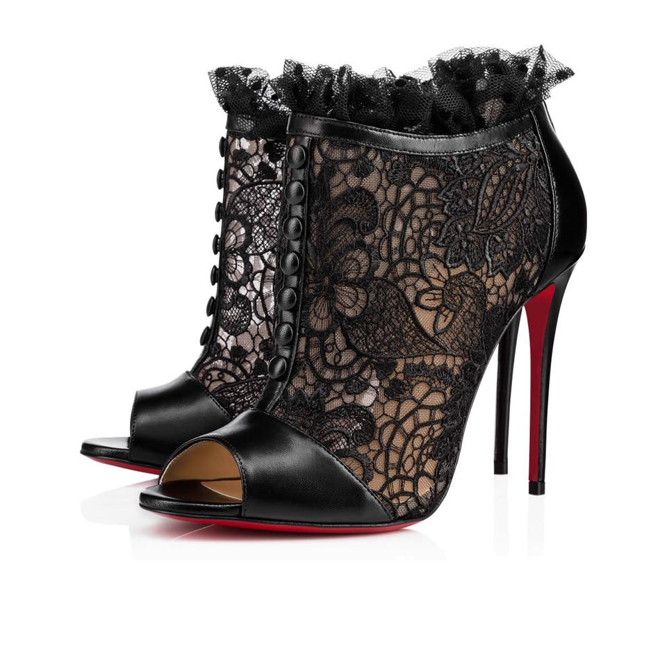 save off 2118a e4d28 Louboutin Pumps Mesh Lace Bootie Christian Heel Leather ...