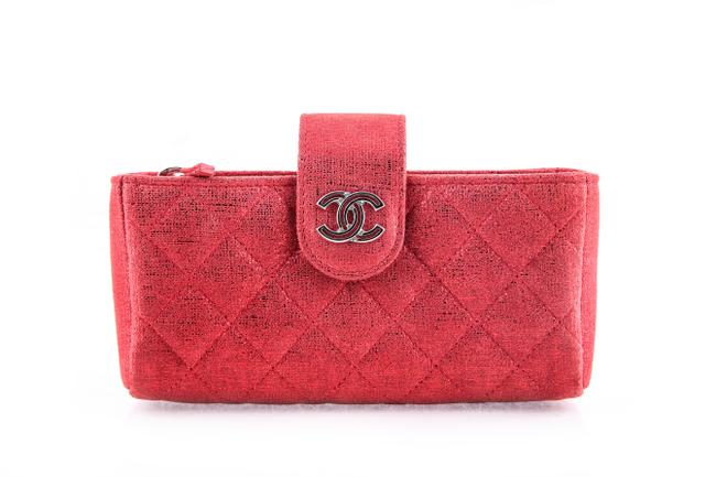 Chanel Phone Holder Red Suede Leather Clutch Chanel Phone Holder Red Suede Leather Clutch Image 1