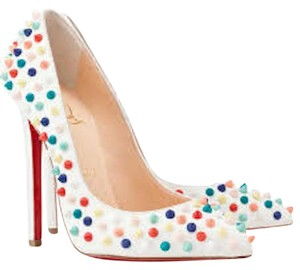 Christian Louboutin Pigalle Stiletto Spikes Slip On Pointed Toe white Pumps