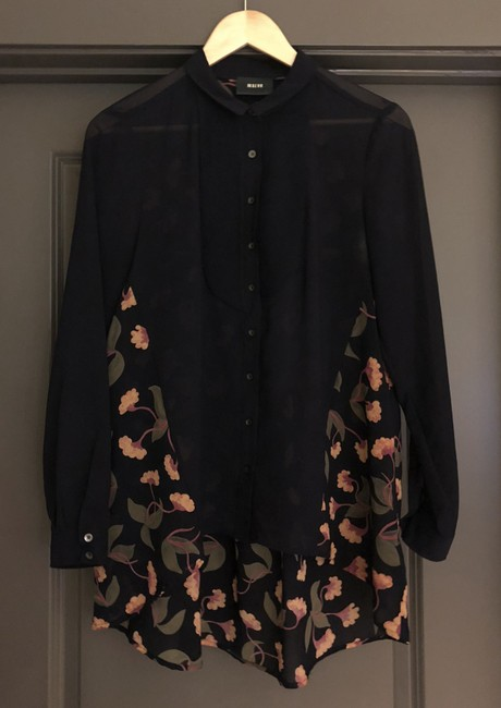 Maeve Anthropologie Flattering Top Navy Blue and Muted Florals