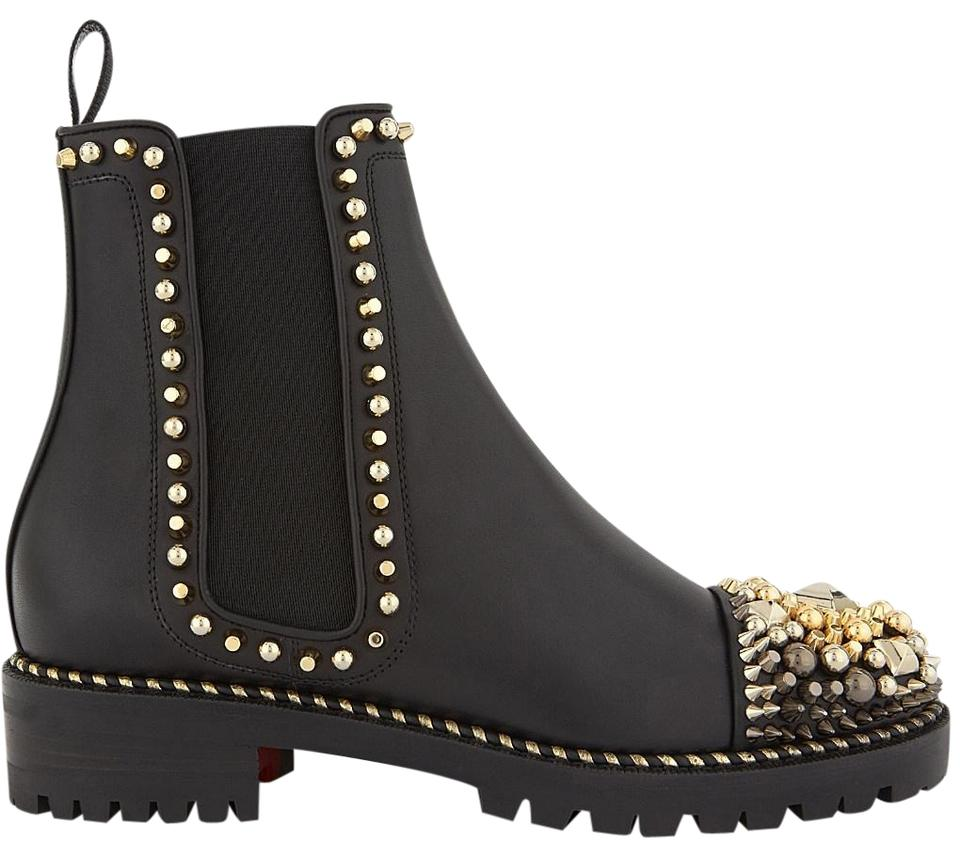 check out 6374b 51ff9 Christian Louboutin Black Chasse A Clou Flat Silver Gold Studded Stud Ankle  Boots/Booties Size EU 36.5 (Approx. US 6.5) Regular (M, B)