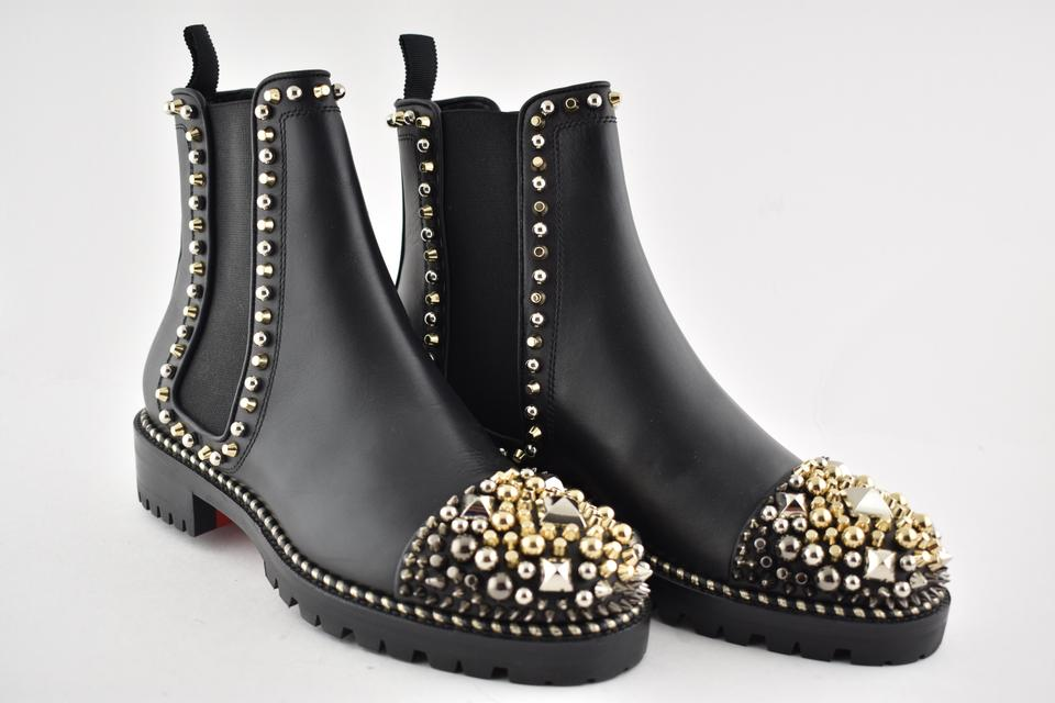 Black Chasse A Clou Flat Silver Gold Studded Stud Ankle BootsBooties