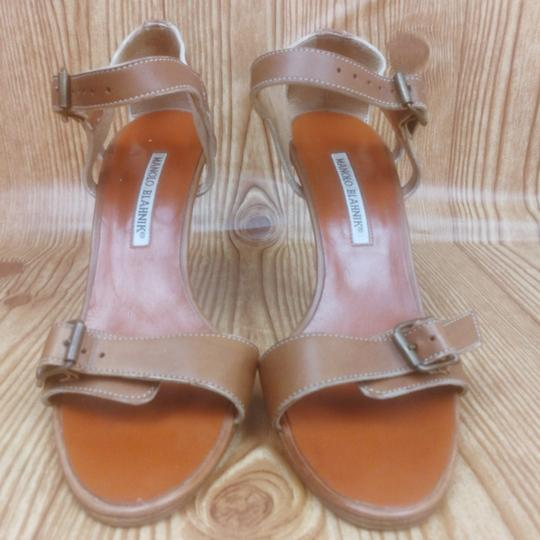 Manolo Blahnik Leather Strappy Tan Sandals