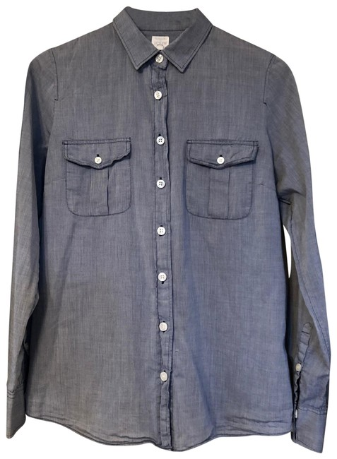 Preload https://item1.tradesy.com/images/jcrew-blue-denim-look-the-perfect-shirt-blouse-button-down-top-size-8-m-23818890-0-1.jpg?width=400&height=650