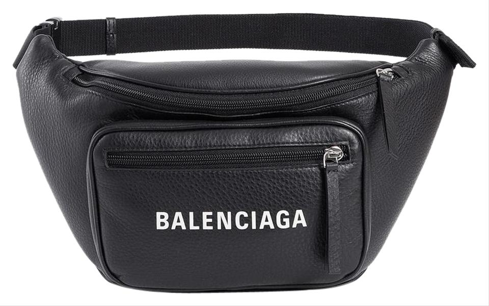 novel design search for newest buy Balenciaga Everyday Fanny Pack Black W/ White Logo Leather Cross Body Bag  22% off retail