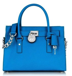 Michael Kors Saffiano Leather Mk Mk Purse Lock And Key Satchel in SUMMER BLUE/SILVER Hardware