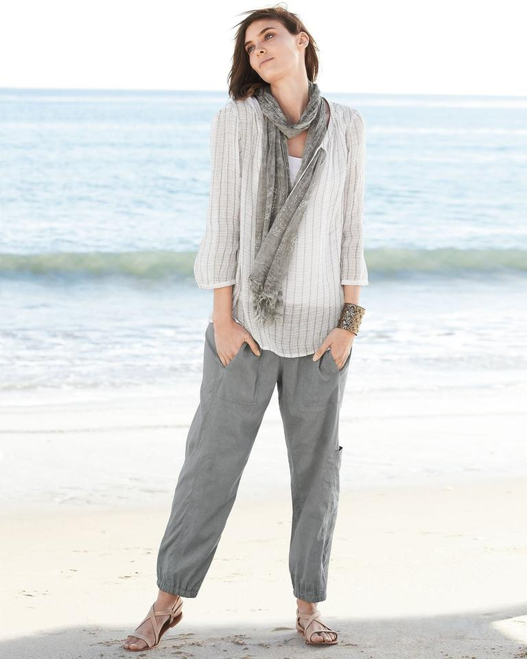 d14aedbbc6ab Eileen Fisher Pewter Linen Blend Ankle Pants Size 16 (XL