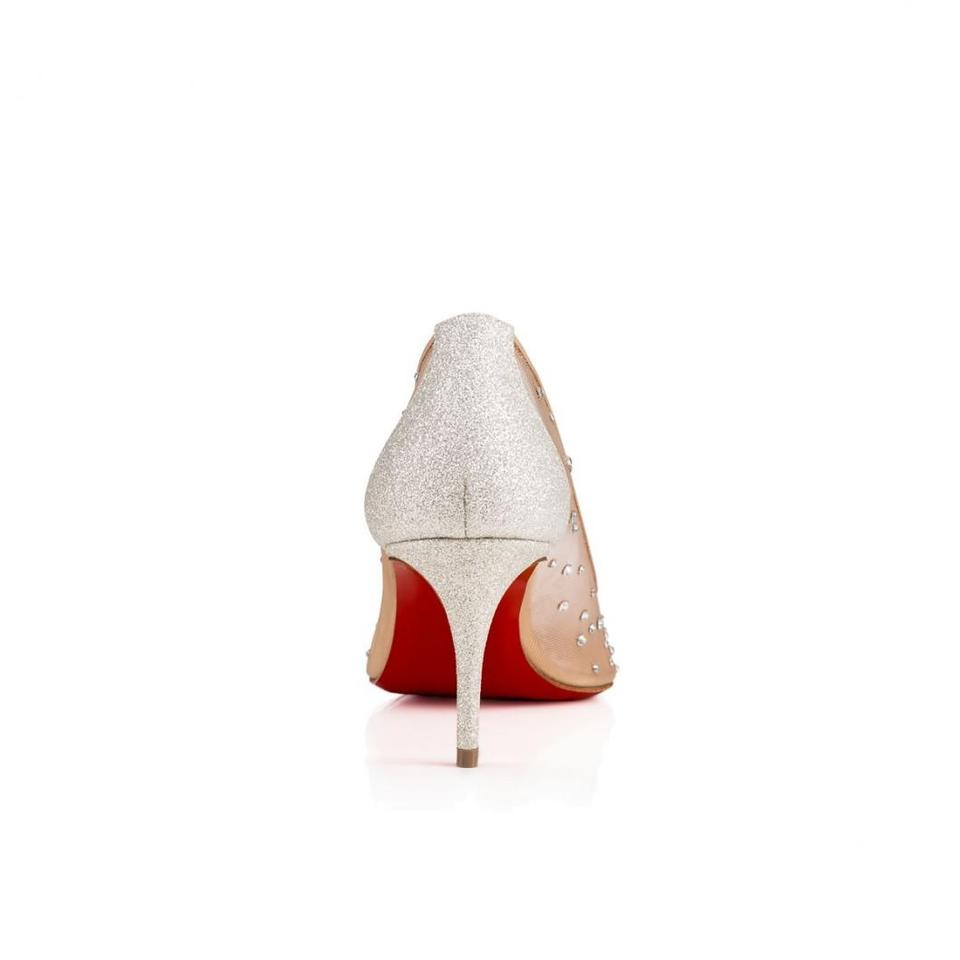 premium selection c9482 d05eb Christian Louboutin Nude Follies Strass 70 Moonlight Silver Mesh Glitter  Crystal Heel Pumps Size EU 42 (Approx. US 12) Regular (M, B)