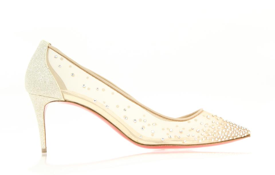 49b1fd31efa Christian Louboutin Beige Version Crystal Moonlight Follies Strass 70  Rete Glitter Pumps