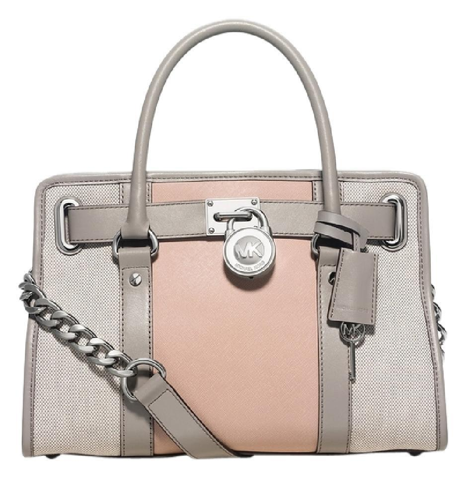 dafd239b8919 Michael Kors Hamilton East West Center Stripe (New with Tags) Pearl Grey    Ballet Pink  Silver Hardware Saffiano Leather   Canvas Satchel