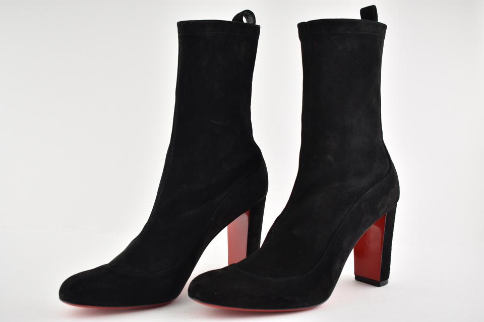 brand new 9745f 38e05 Christian Louboutin Black Gena 85 Stretch Suede Mid Calf Ankle Classic Heel  Boots/Booties Size EU 35.5 (Approx. US 5.5) Regular (M, B)