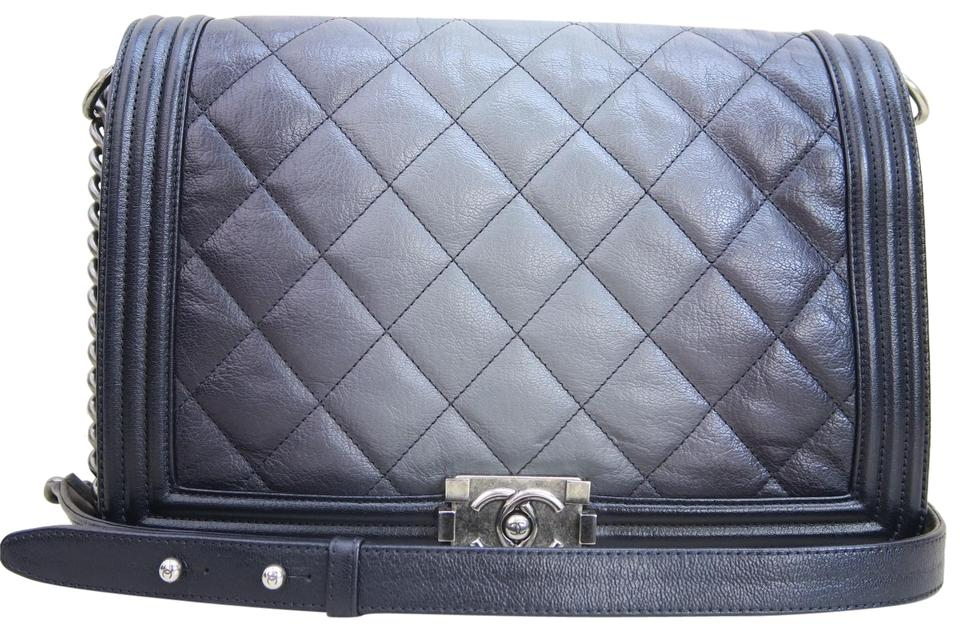3a78dc2f30c085 Chanel Ombre Boy Large Le Black Calfskin Leather Cross Body Bag ...