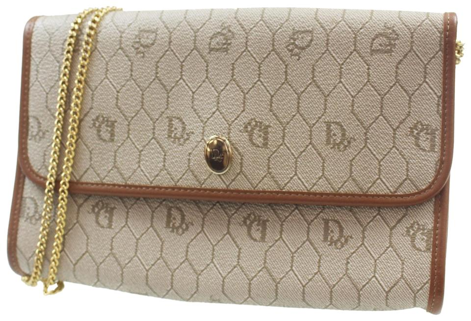 6ee51d7cd0a0 Dior Christian Chain Hand Honeycomb Pattern Brown Beige Pvc Leather ...