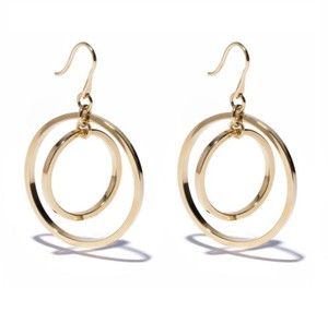 Lele Sadoughi Lele Sadoughi Gold Round 14k Plated Double Hoop Drop Earrings