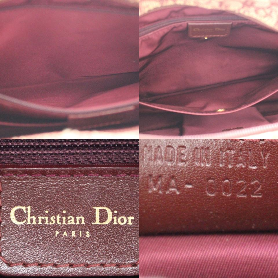 Tote Christian Leather Dior Canvas Red Vintage Trotter YWw4CF