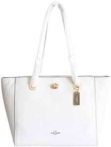 Coach Leather Turnlock Chain White Shoulder Bag