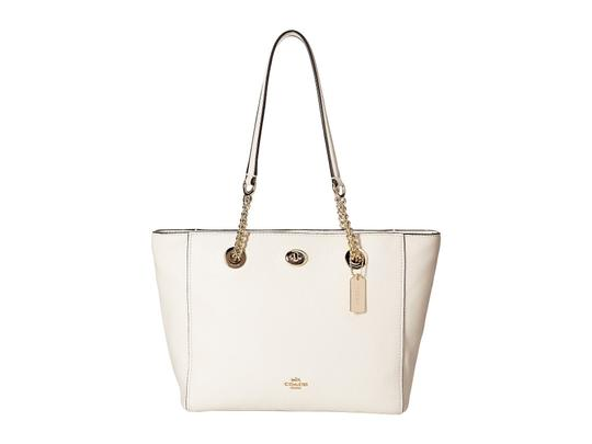 Coach Leather Turnlock Chain White Shoulder Bag Image 1