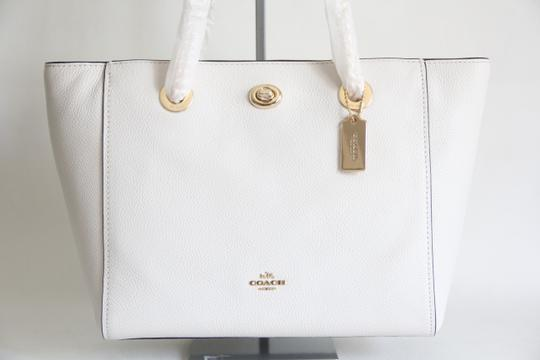 Coach Leather Turnlock Chain White Shoulder Bag Image 2