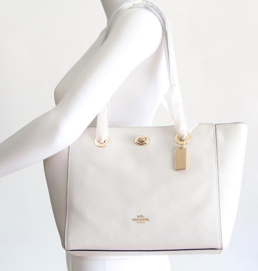 Coach Leather Turnlock Chain White Shoulder Bag Image 3