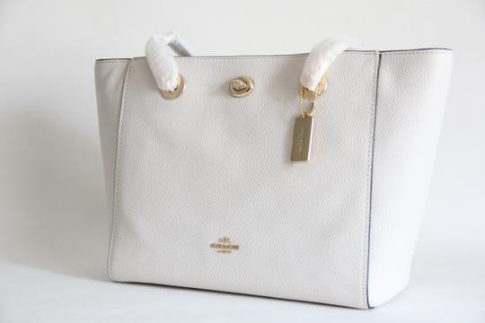 Coach Leather Turnlock Chain White Shoulder Bag Image 5