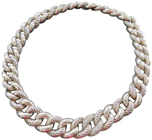 "David Yurman 19.5"" SS Belmont Curb w/Pave' Diamond Necklace"