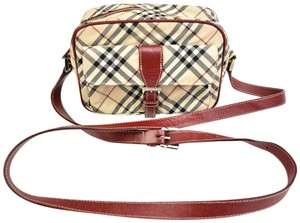 Burberry London Nova Leather Check Beige Cross Body Bag