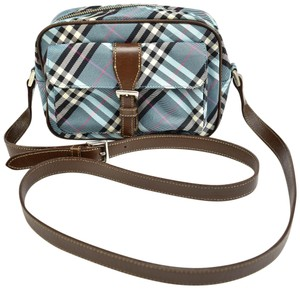Burberry London Nova Leather Check Blue Cross Body Bag