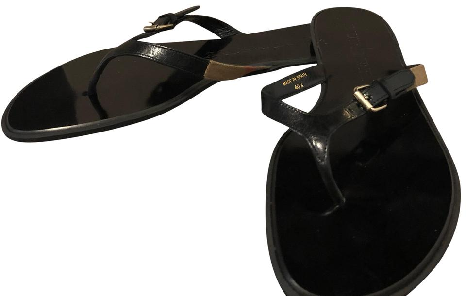 f4ac7ad59e79b5 Burberry Black Icon Clip Masieflat Thong Sandals Size US 10.5 ...