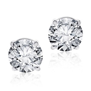 Avital & Co Jewelry 3.12 Carat Round Brilliant Cut Diamond Stud Earrings 14K White Gold